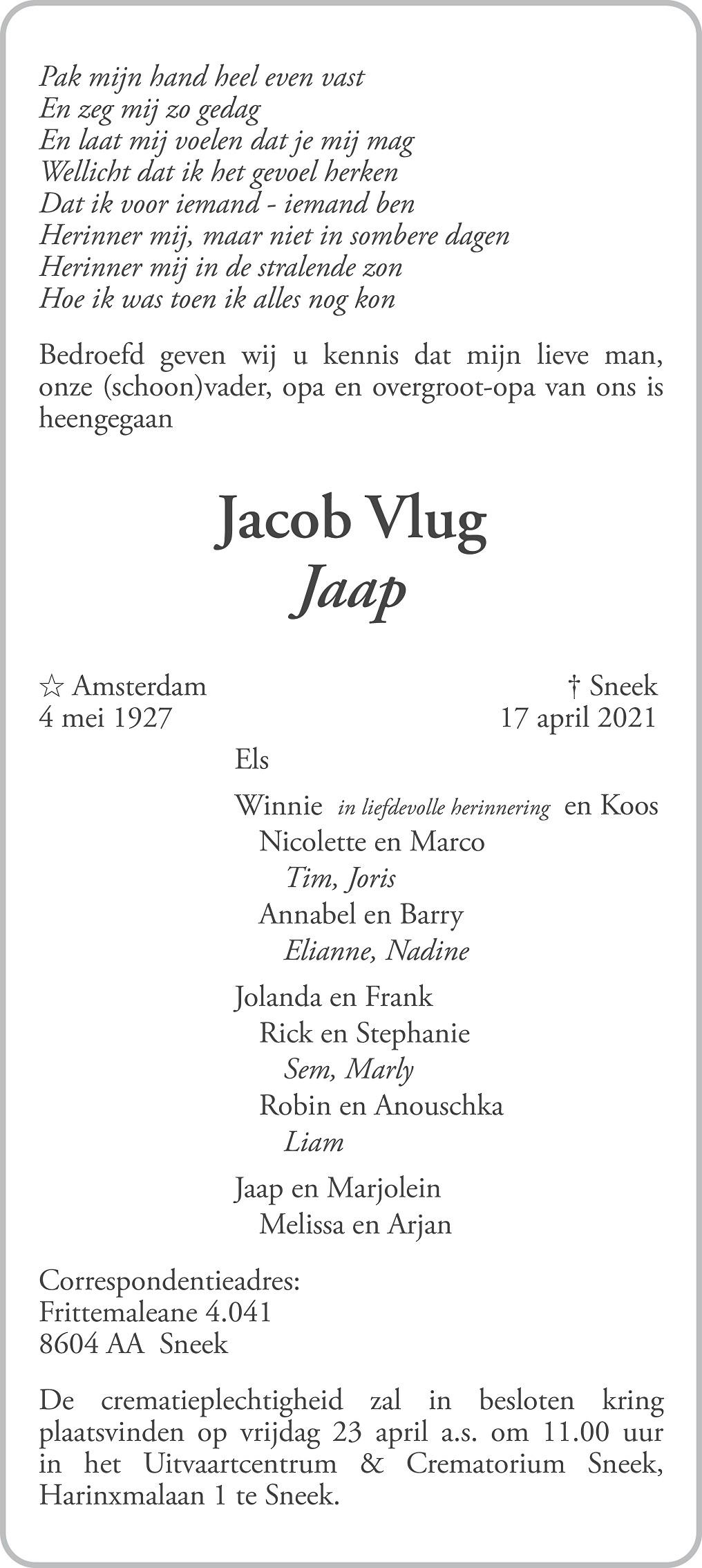 Jacob Vlug Death notice