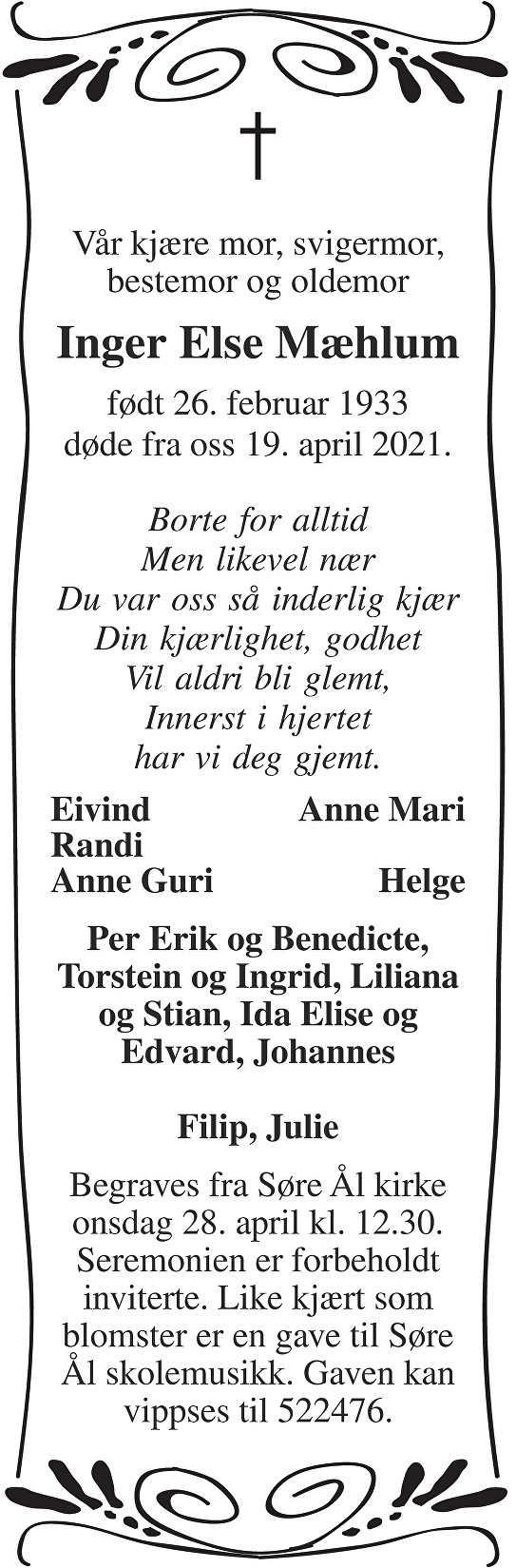 Inger Else Mæhlum Dødsannonse