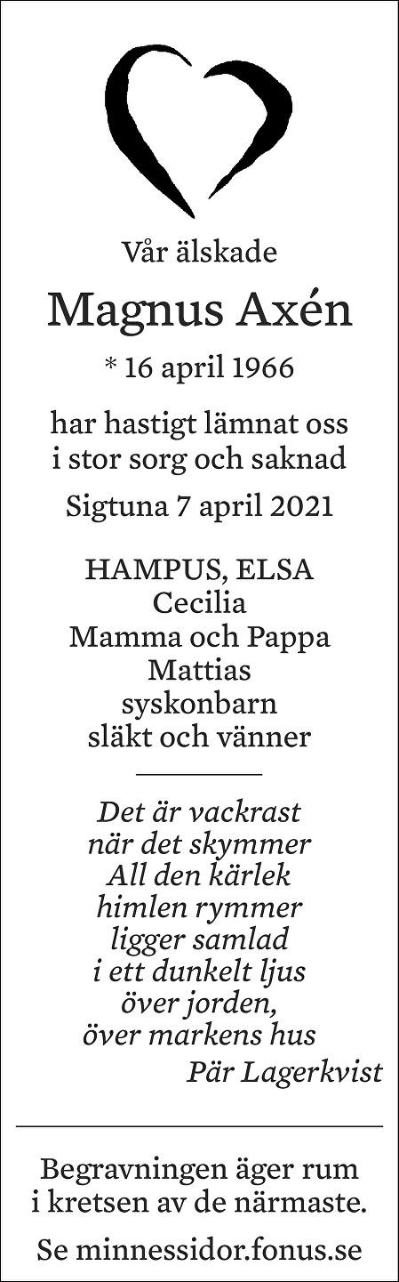 Magnus Axén Death notice