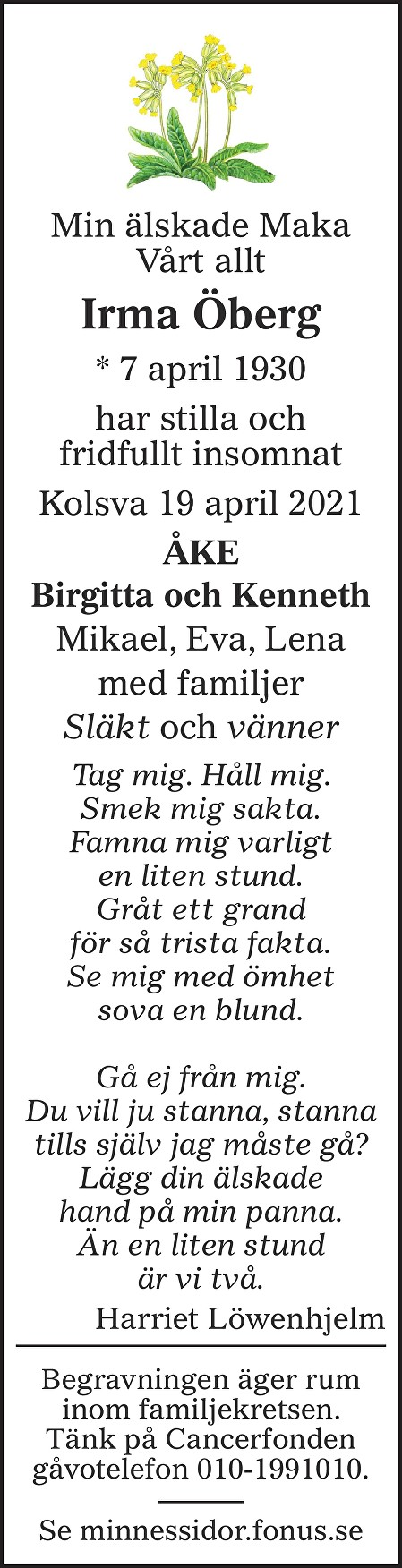 Irma Öberg Death notice