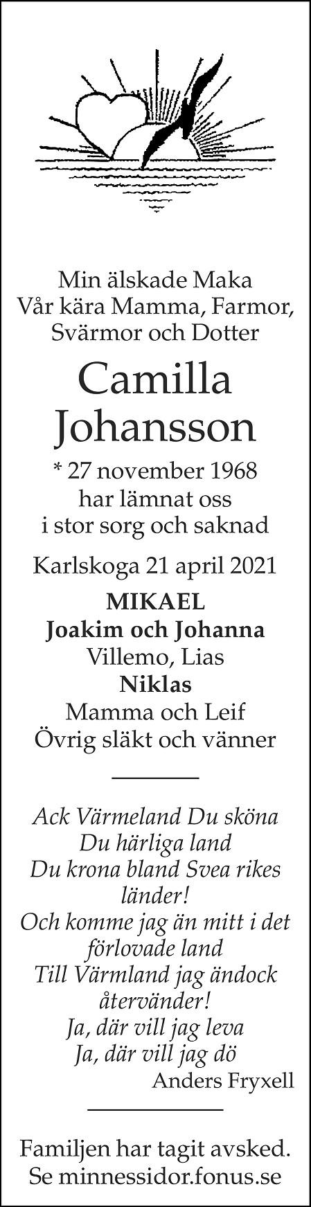 Camilla Johansson Death notice