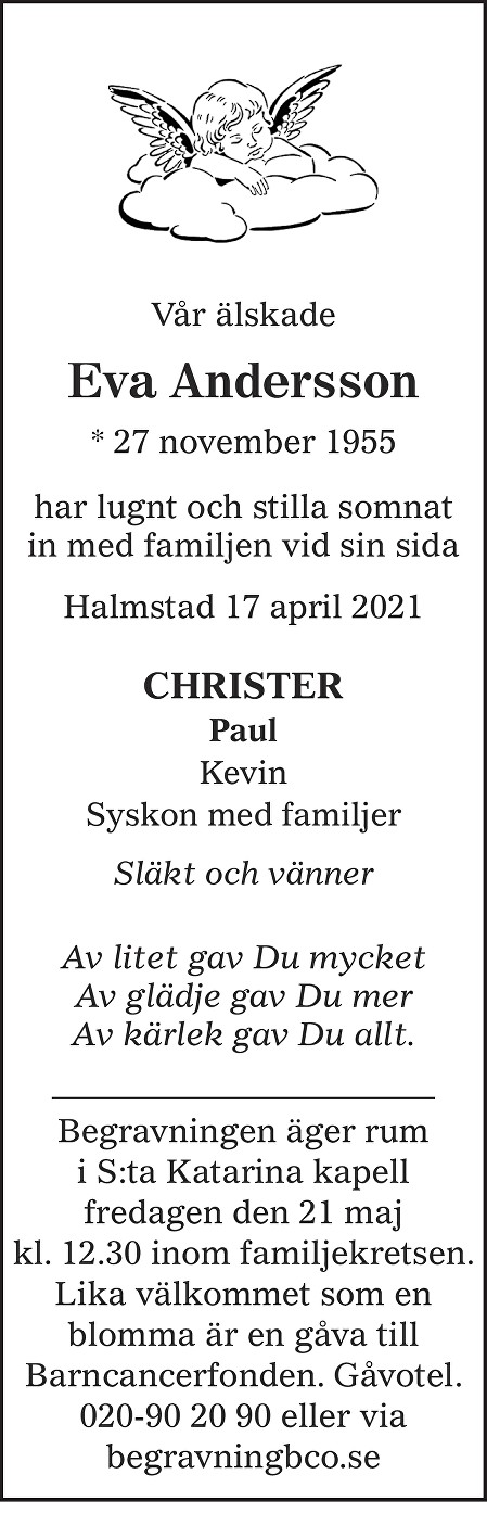 Eva  Andersson Death notice