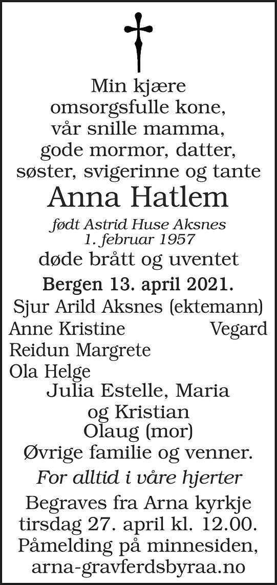 Anna Hatlem Dødsannonse