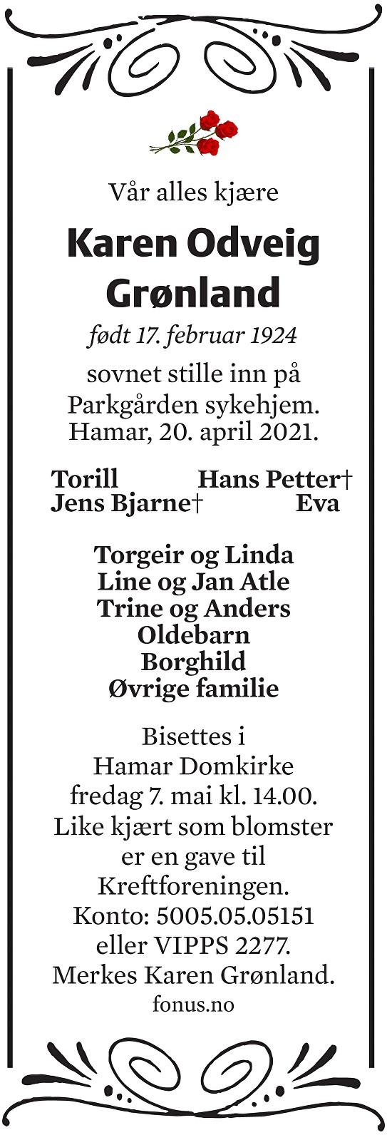 Karen Odveig Grønland Dødsannonse
