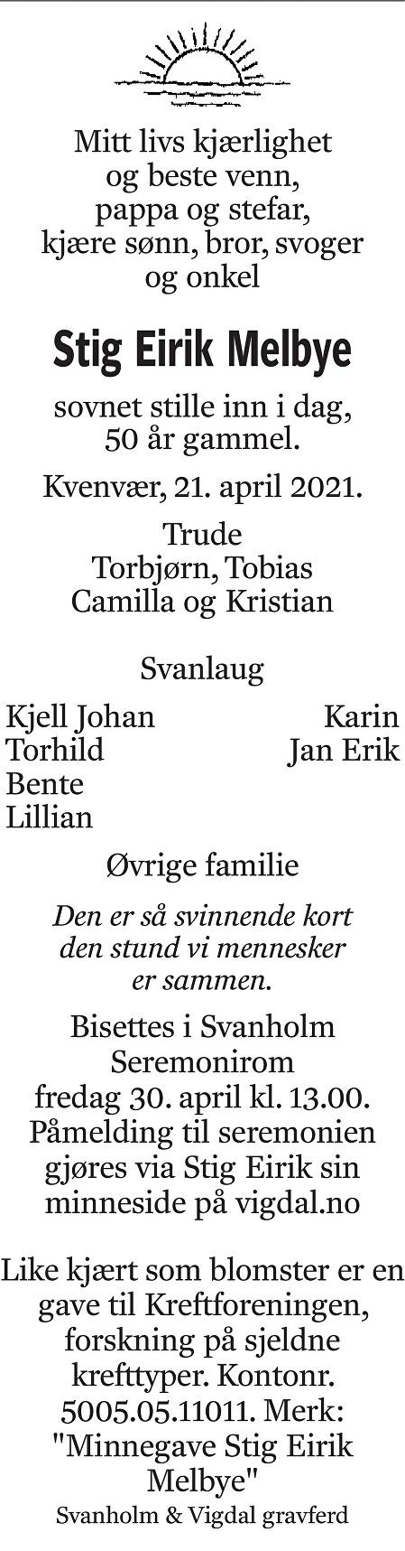 Stig Eirik Melbye Dødsannonse