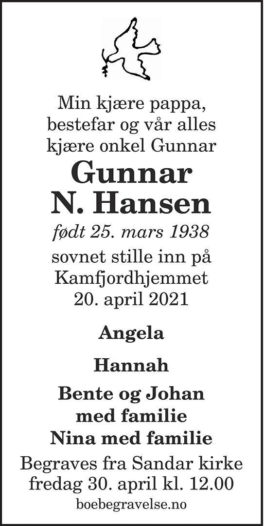 Gunnar N.  Hansen Dødsannonse