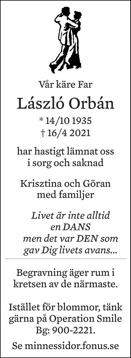 Laszlo Orban Death notice