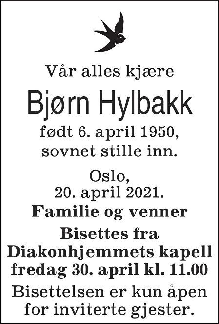 Bjørn Hylbakk Dødsannonse