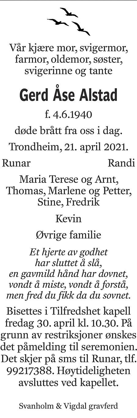 Gerd Åse Alstad Dødsannonse