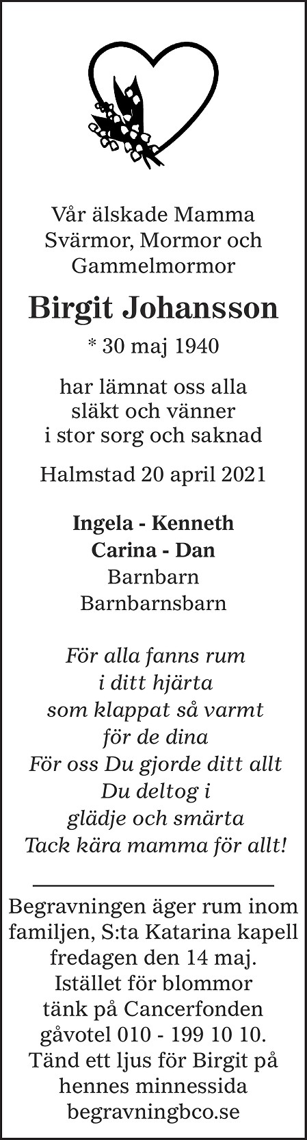 Birgit Johansson Death notice