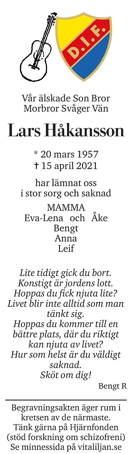 Lars Håkansson Death notice