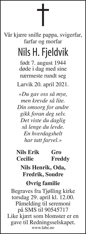 Nils Henry Fjeldvik Dødsannonse