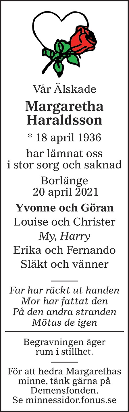 Margaretha Haraldsson Death notice