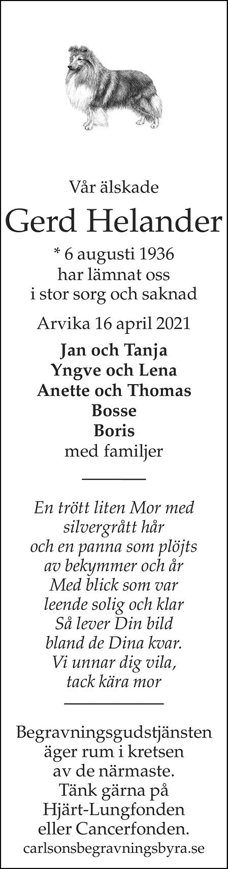 Gerd Helander Death notice