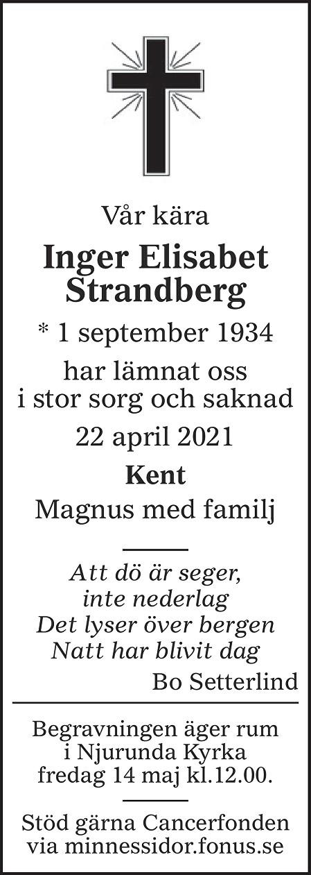 Inger Elisabet Strandberg Death notice