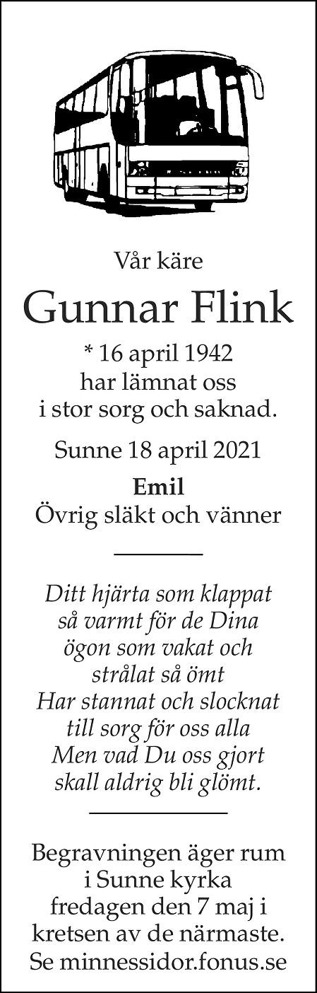 Gunnar Flink Death notice