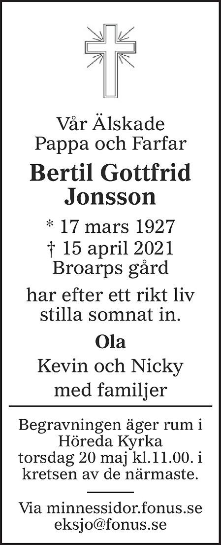 Bertil Gottfrid Jonsson Death notice