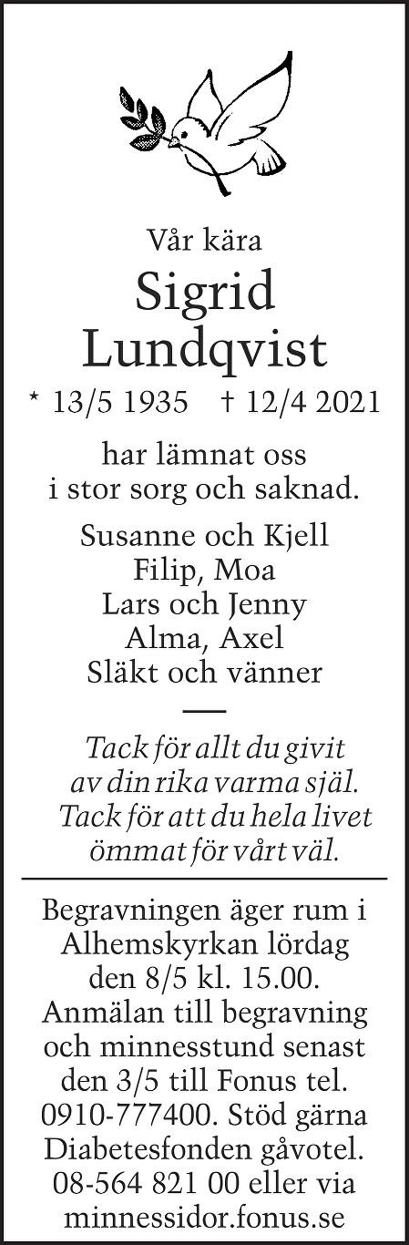 Sigrid Lundqvist Death notice