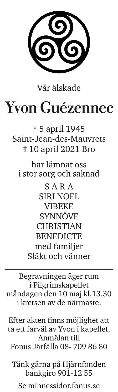 Yvon Guezennec Death notice