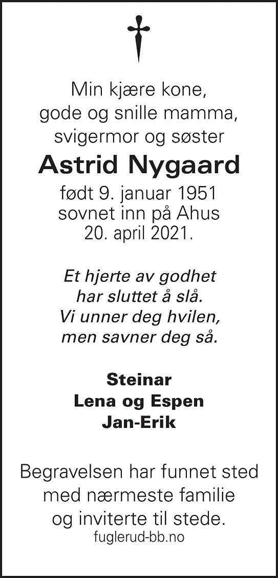 Astrid Nygaard Dødsannonse