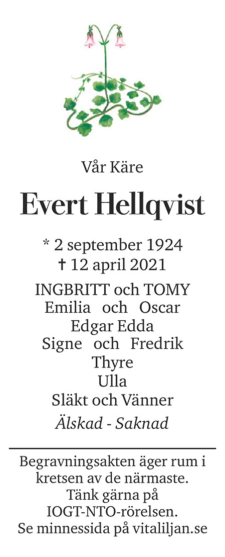 Evert  Hellqvist Death notice
