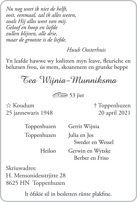 Tjeerdje Wijnia-Munniksma Death notice