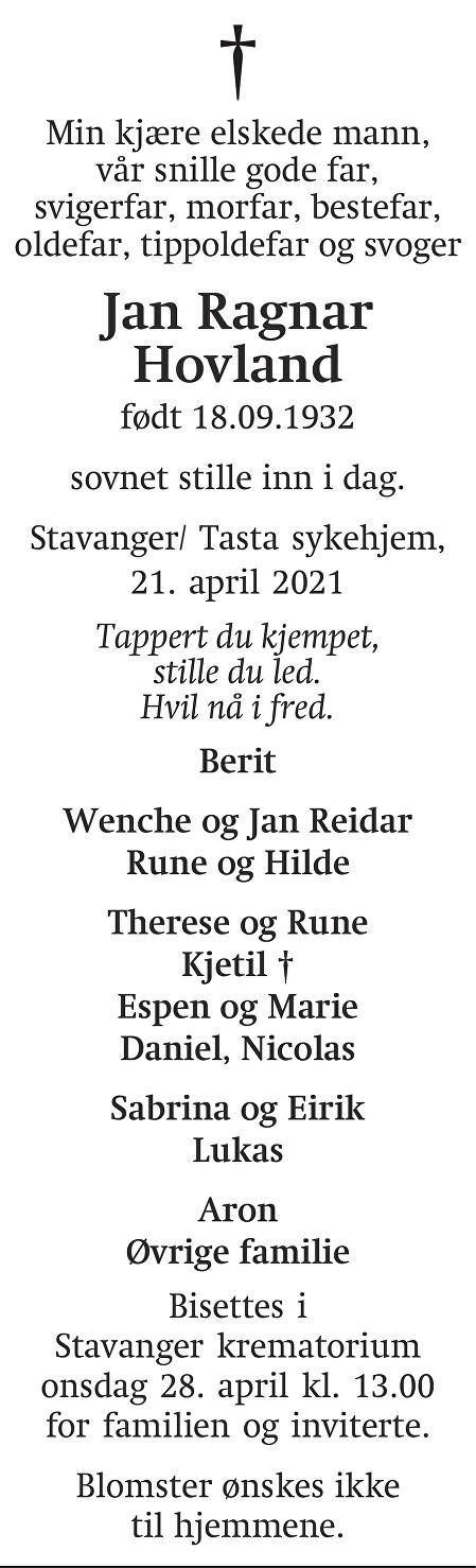 Jan Ragnar  Hovland Dødsannonse