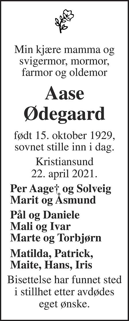 Aase Ødegaard Dødsannonse