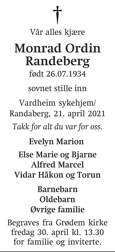Monrad Ordin Randeberg Dødsannonse