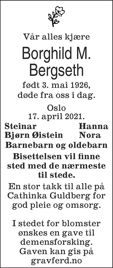 Borghild Marie Bergseth Dødsannonse