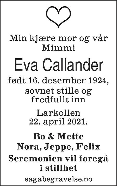 Eva Callander Dødsannonse
