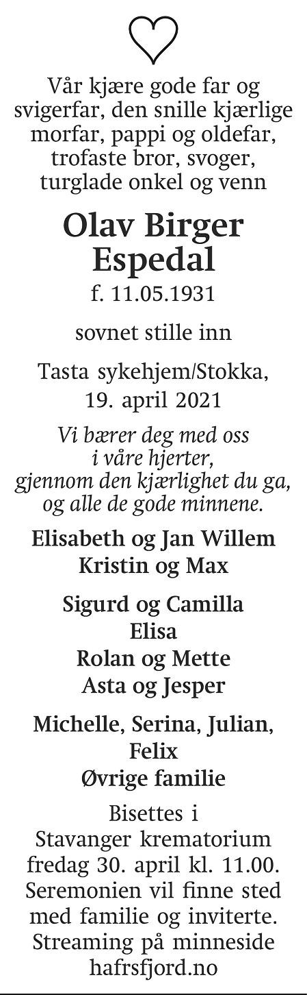 Olav Birger  Espedal Dødsannonse