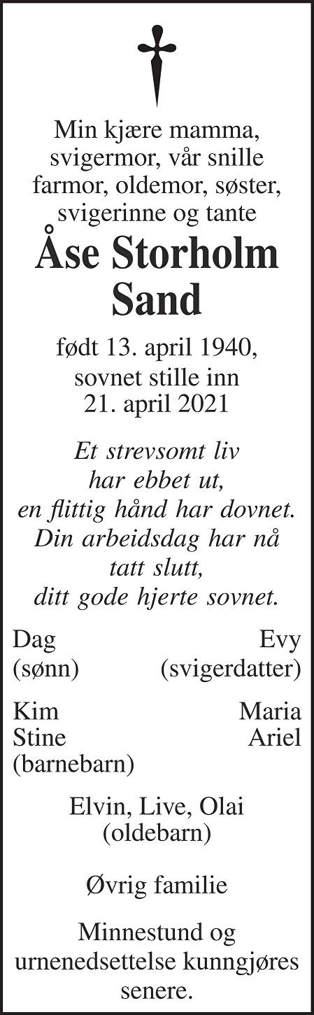 Åse Storholm Sand Dødsannonse