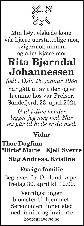 Rita Bjørndal Johannessen Dødsannonse
