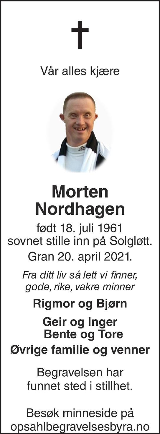 Morten Nordhagen Dødsannonse