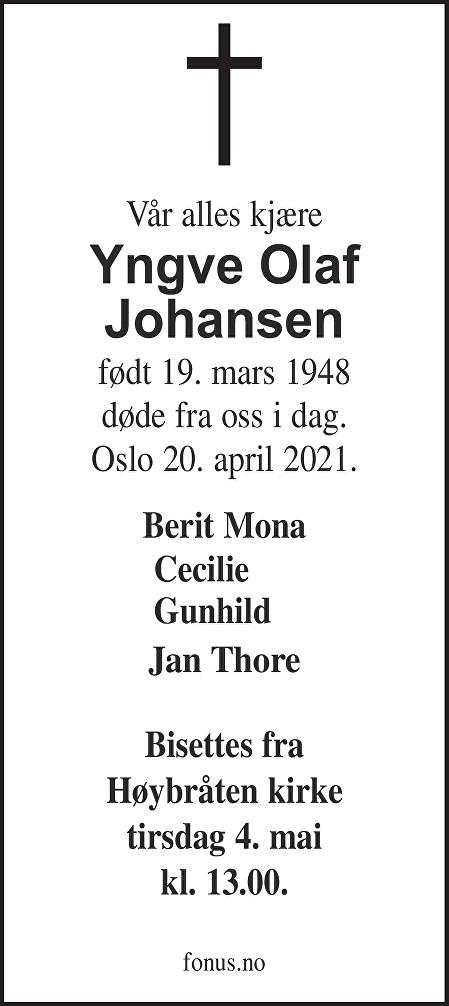 Yngve Olaf Johansen Dødsannonse