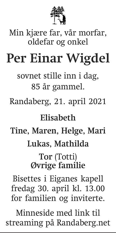 Per Einar Wigdel Dødsannonse