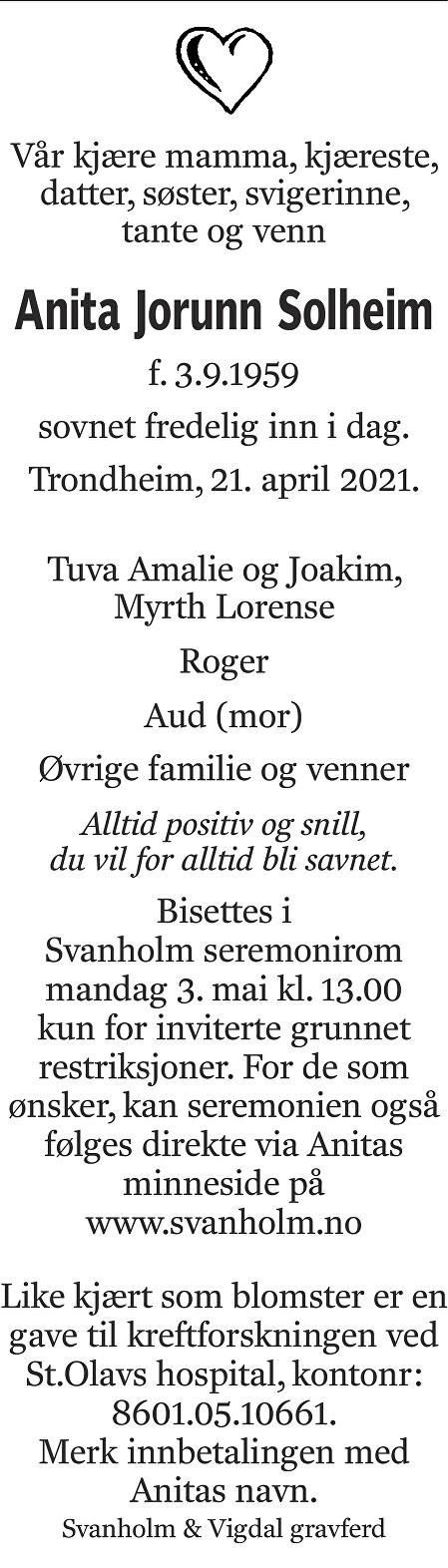 Anita Jorunn Solheim Dødsannonse