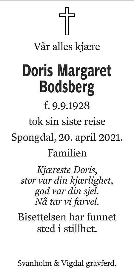 Doris Margaret Bodsberg Dødsannonse