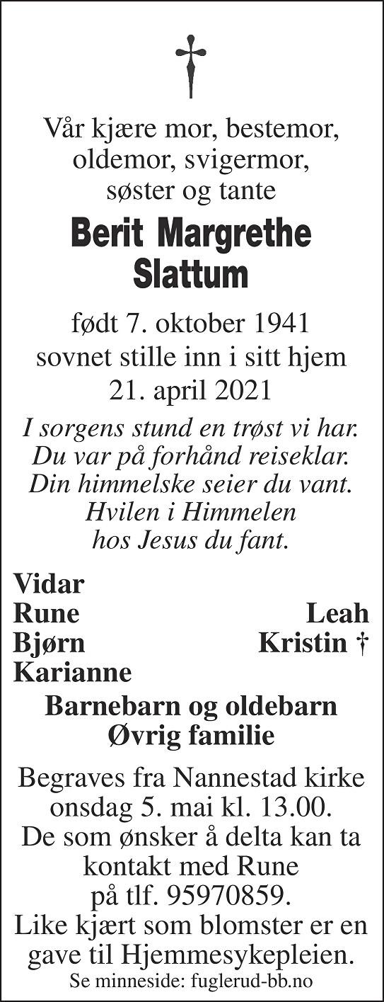 Berit Margrethe Slattum Dødsannonse