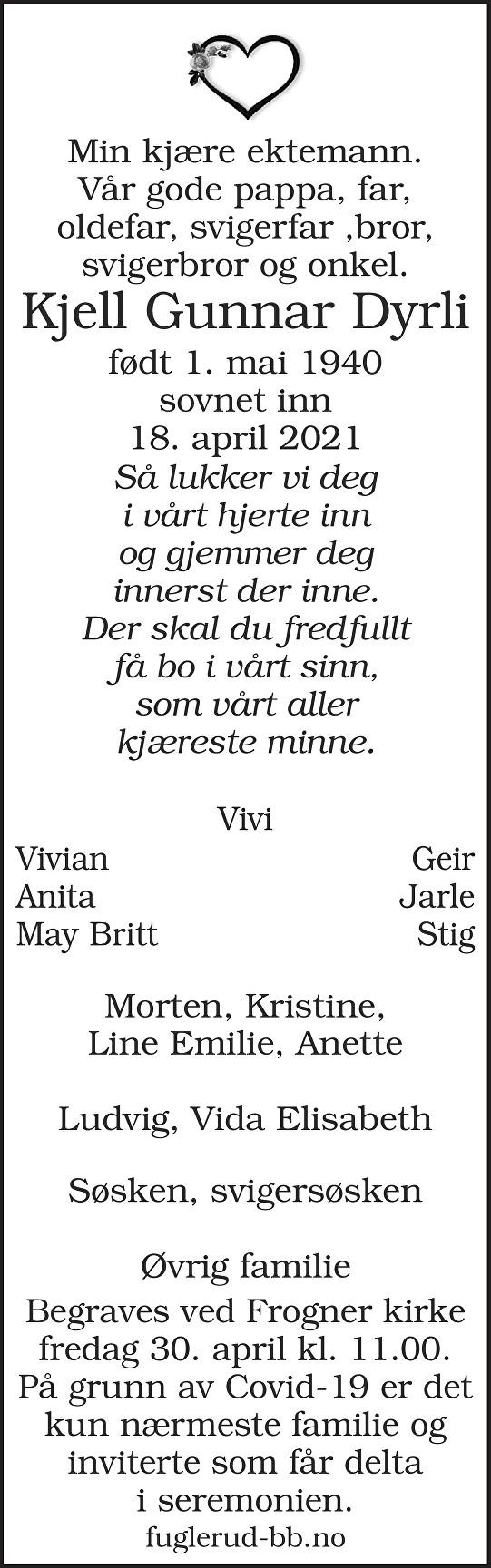 Kjell Gunnar Dyrli Dødsannonse