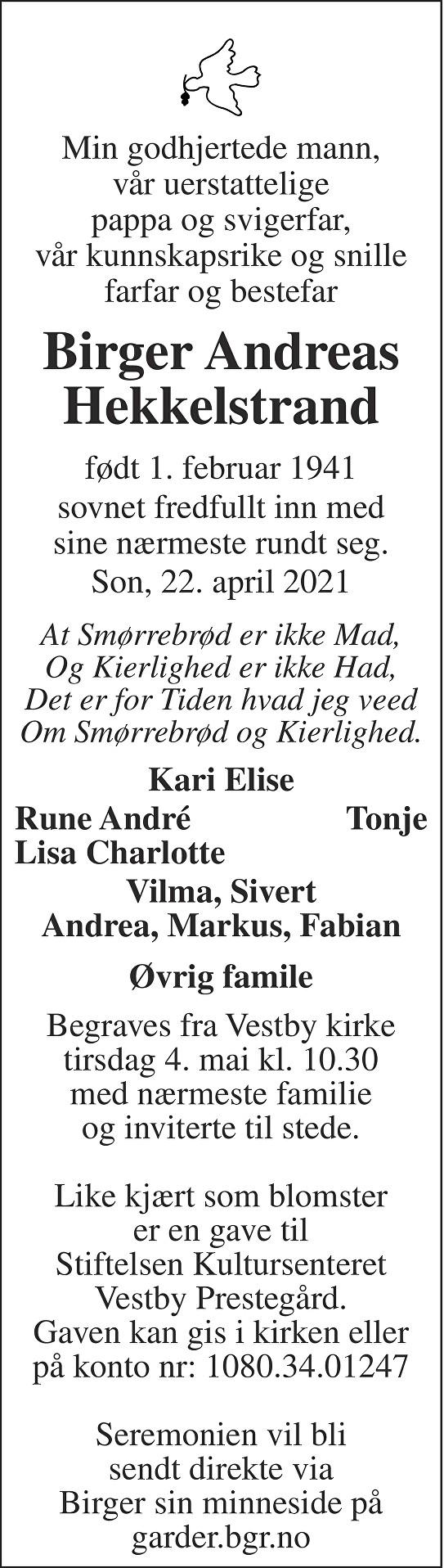Birger Andreas Hekkelstrand Dødsannonse