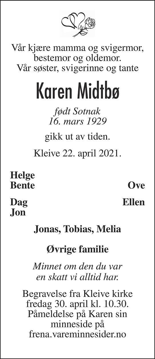 Karen Midtbø Dødsannonse
