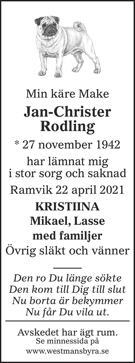Jan-Christer Rodling Death notice