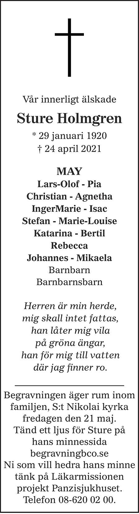 Sture  Holmgren Death notice