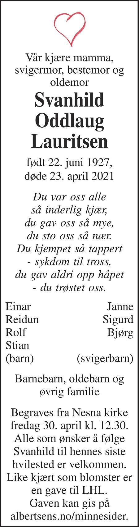 Svanhild Oddlaug Lauritsen Dødsannonse