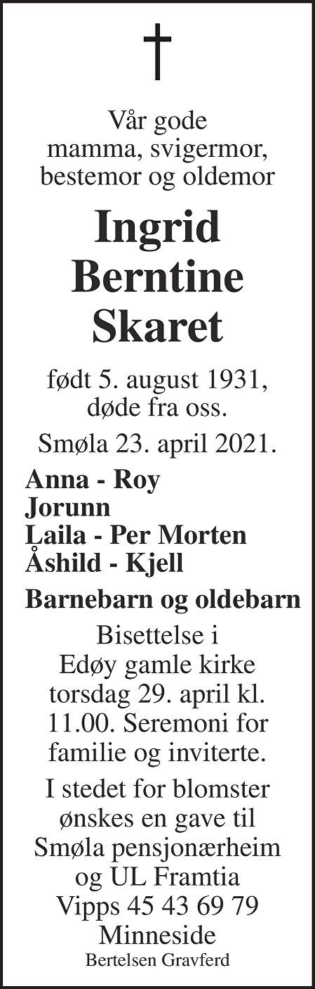 Ingrid Berntine Skaret Dødsannonse