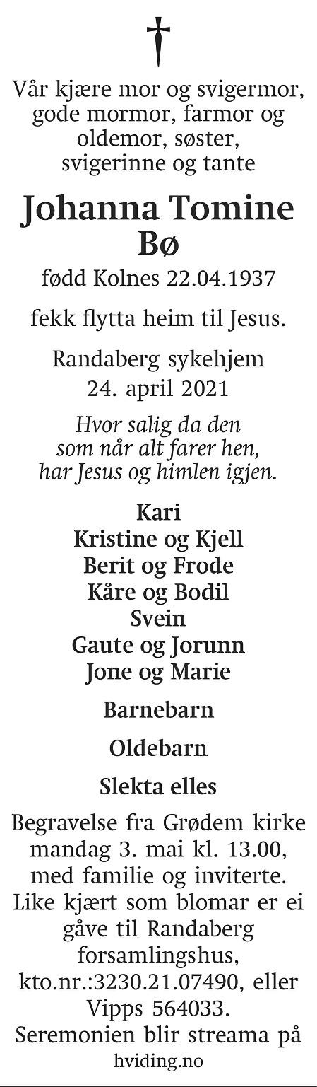 Johanna Tomine Bø Dødsannonse