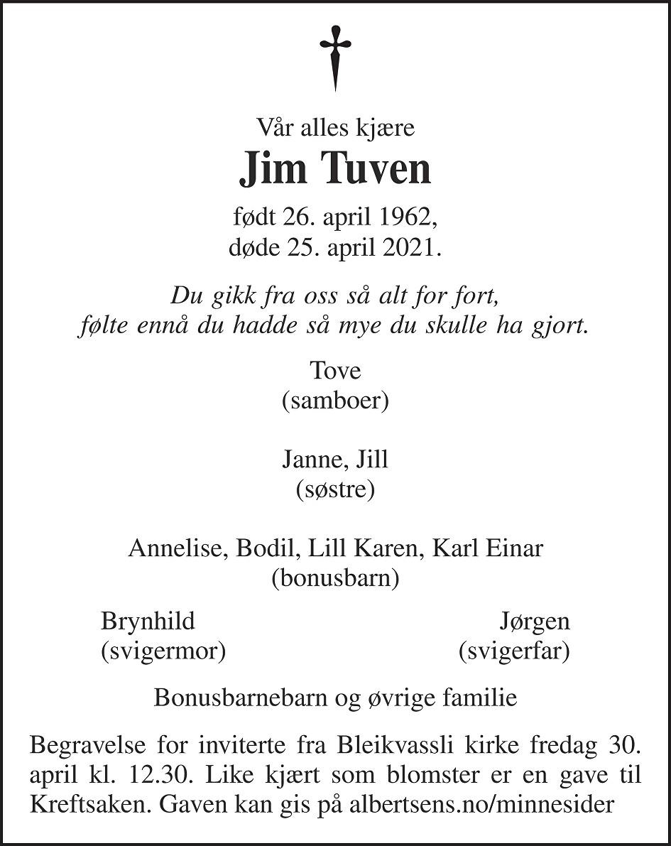 Jim Tuven Dødsannonse