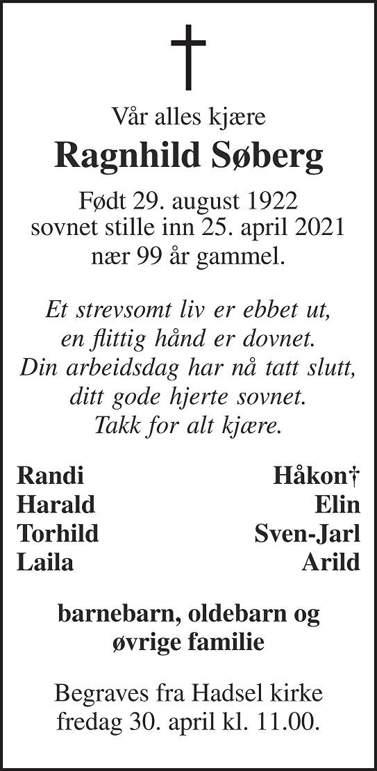 Ragnhild Søberg Dødsannonse